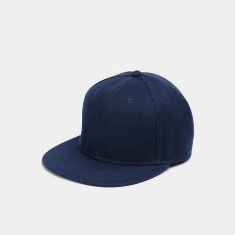 Clean Flat Brim Cap In Navy front view