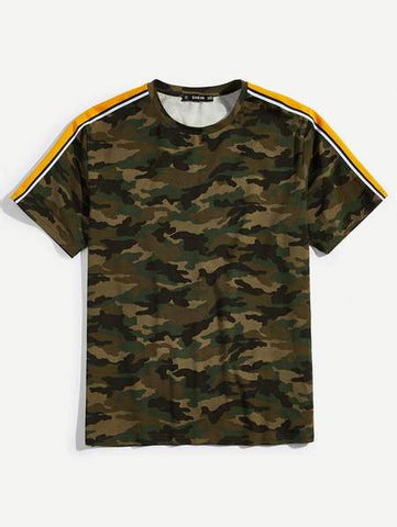 Front of SHEIN dark camo T-Shirt with orange sleeves stripe