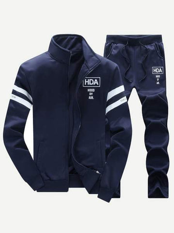 "SHEIN navy ""HDA"" sport set in front view"