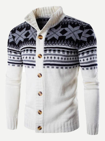 Front of SHEIN white cadigan sweater with Scandinavian motifs