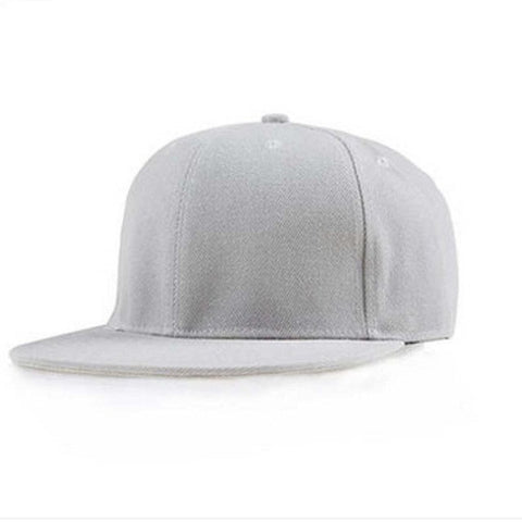 Front view of light grey cap. No images and text, simple and clean.