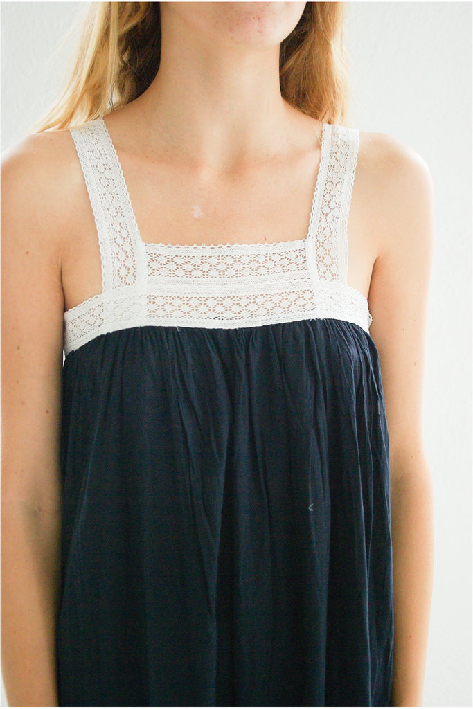 Gathered Slip with Cotton Lace, Navy