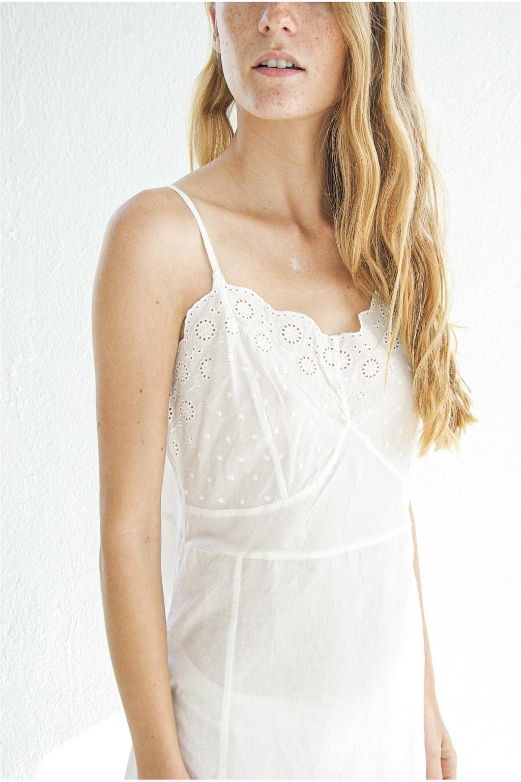 Slip with Embroidery, White