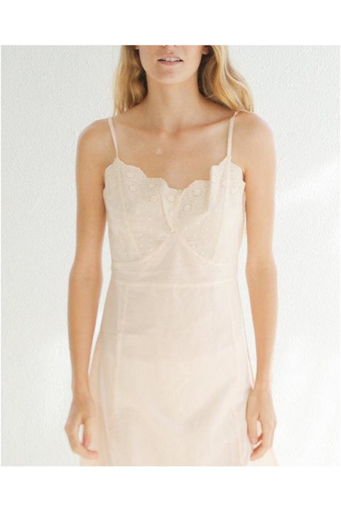 Slip with Embroidery, Blush