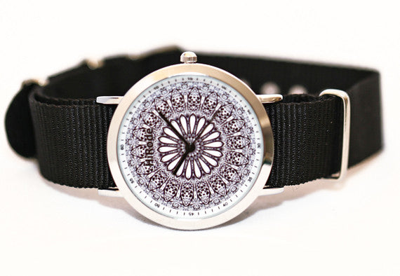 Heart Garden- Black and White Kaleidoscope Mandala watch - WATCHUS