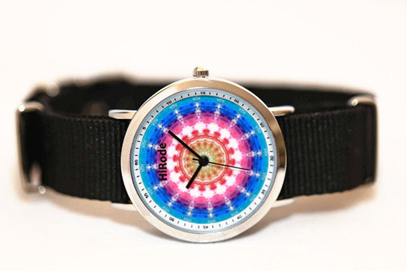 Ocean - pink and blue Kaleidoscope Mandala patterned watch