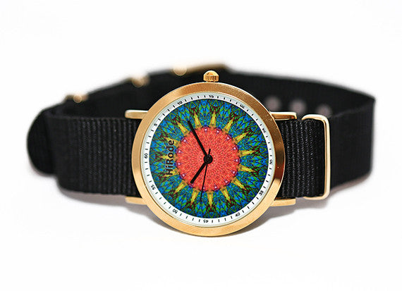 Setting Sun -A green and yellow Mandala style watch
