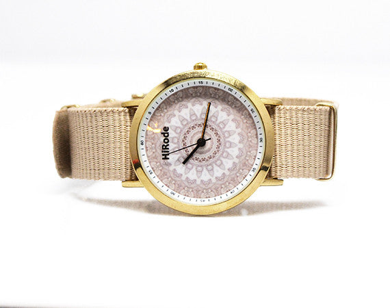 Whale - A neutral beige toned Kaleidoscope Mandala watch