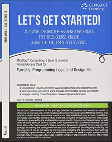 MINDTAP FOR FARRELL'S PROGRAMMING LOGIC AND DESIGN 9TH