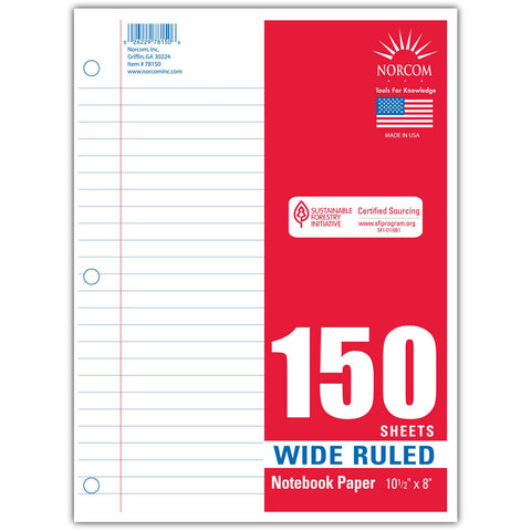 150 SHEETS OF WIDE RULED NOTEBOOK PAPER