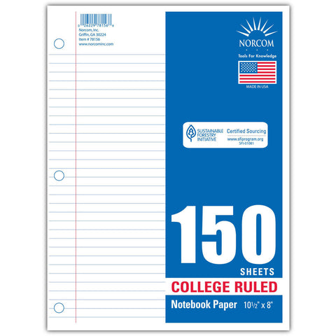 150 SHEETS OF COLLEGE RULED NOTEBOOK PAPER