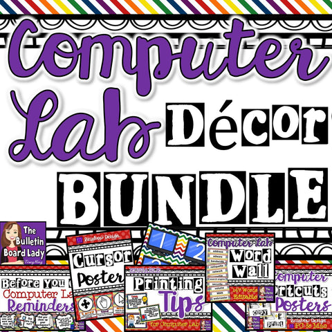 Computer Lab Decor BUNDLE - Rainbow Design
