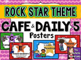 CAFE Headers and Daily 5 Posters - Rock Star Theme