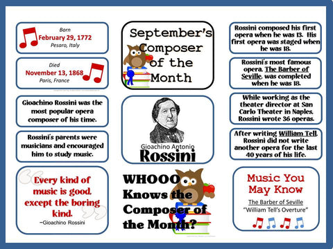 Rossini Composer of the Month (September) Bulletin Board Kit