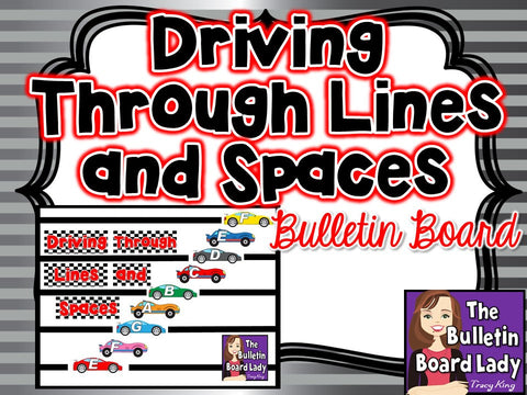 Driving Through Lines and Spaces -Racing Themed Treble Staff Display