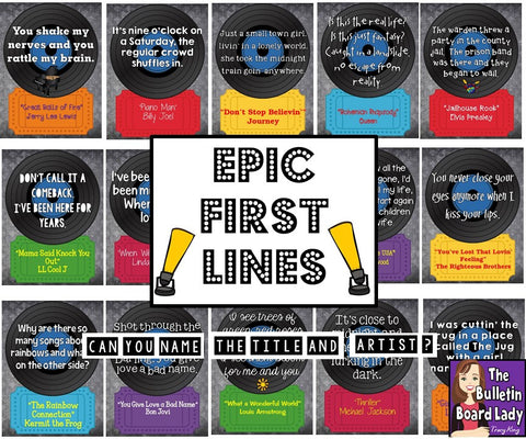 Epic First Lines Music Bulletin Board