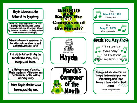 Haydn Composer of the Month (March) Bulletin Board and Worksheet Kit