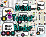 Teacher Binder - White with Rainbow Records