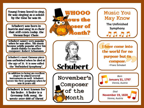 Schubert Composer of the Month (November) Bulletin Board Kit