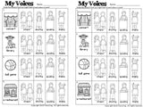 Four Voices Posters, Listening Strips, Worksheets and Assessments