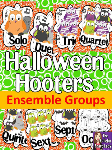 Let's Make BOOtiful Music Halloween Hooters Ensembles Bulletin Board