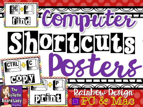Shortcuts Posters for your Computer Lab or Classroom-PC and Mac