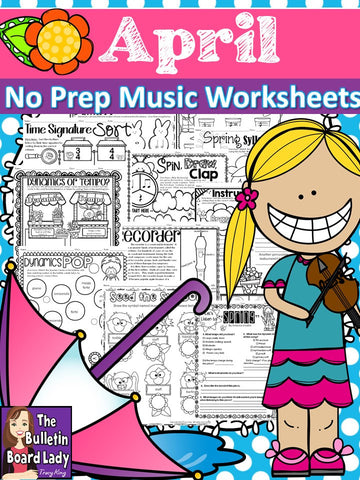 No Prep Music Worksheets for APRIL
