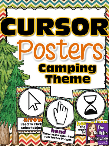 Cursor Cues Posters for Computer Lab Camping Theme
