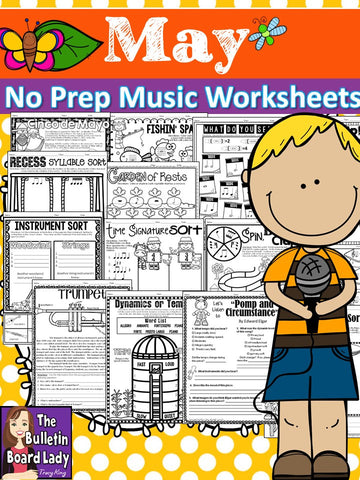 No Prep Music Worksheets for MAY