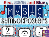 Music Symbol Posters – Red White and Blue Patriotic Theme