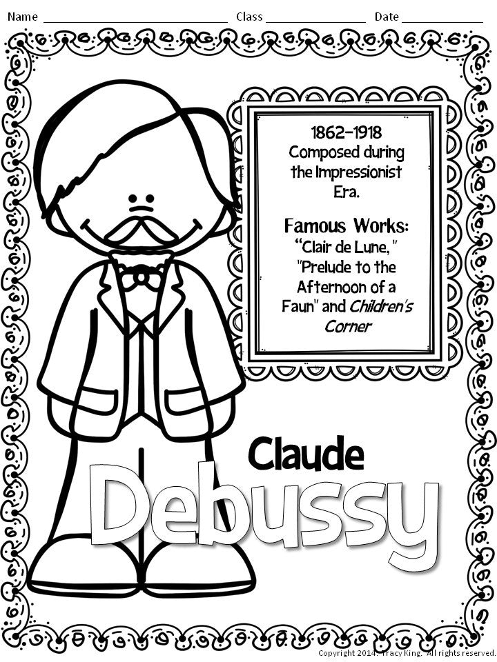 Composer Coloring Sheets 2 – The Bulletin Board Lady |Composers Coloring Pages