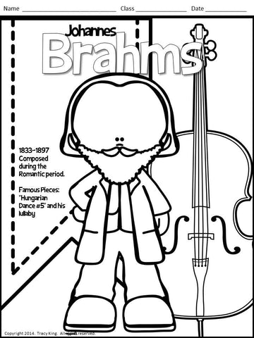 Meet The Composers Set Of 12 Coloring Sheets Book For Music Class