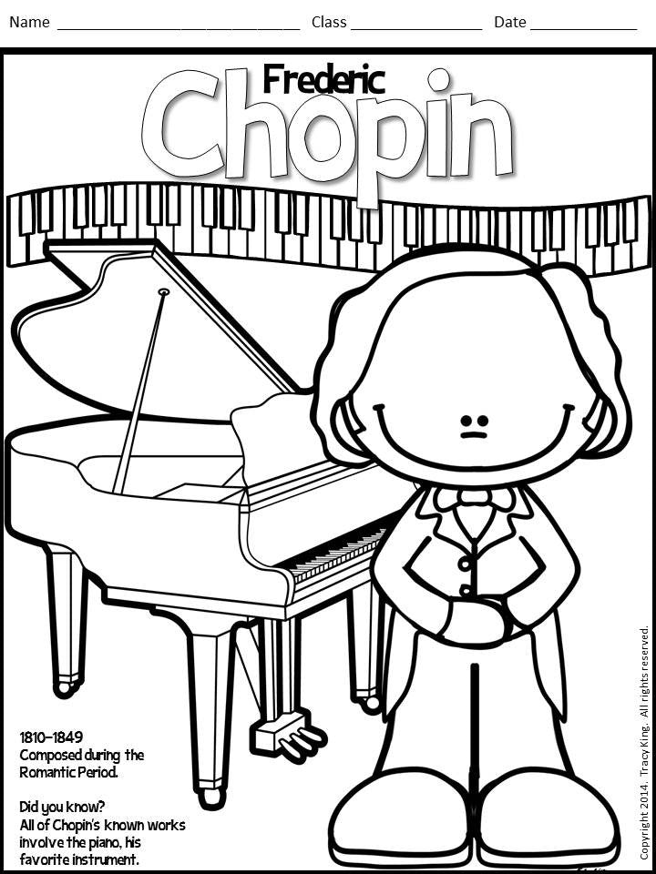 Composer Coloring | http://littleschoolhouseinthesuburbs.com |Composers Coloring Pages