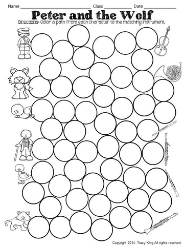 Dabber Activities For Music Class Peter And The Wolf The