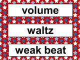 Music Word Wall Set – Red White and Blue