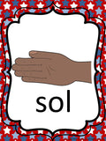 Kodaly Curwen Hand Signs – Red White and Blue