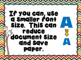 Printing Tips Posters for Computer Lab –Camping Theme