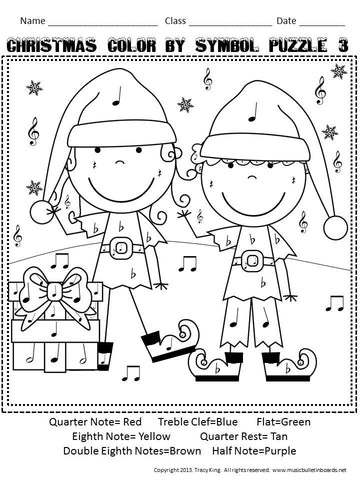 Christmas Color By Music Symbol The Bulletin Board Lady