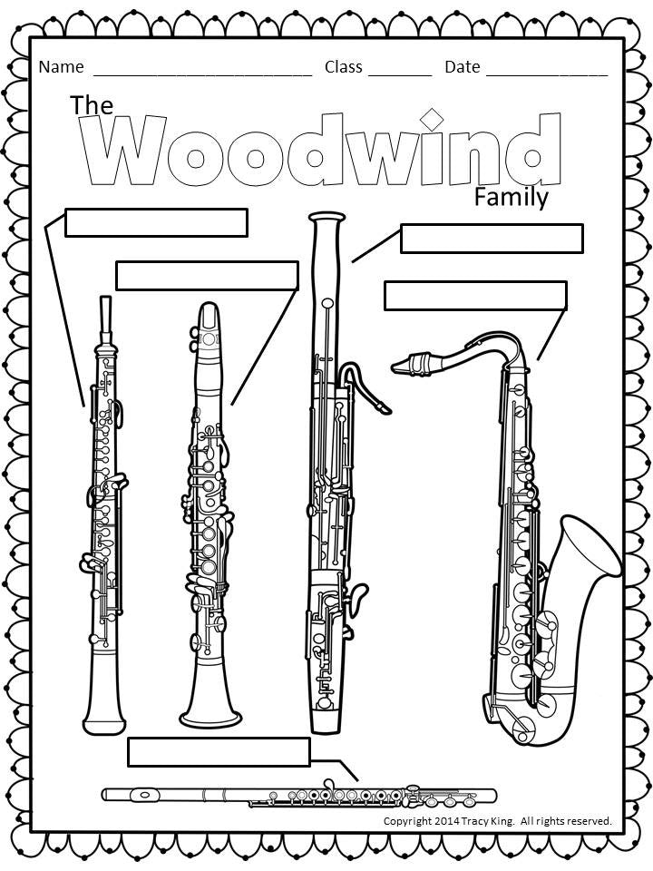 Instrument Coloring Sheets The Bulletin Board Lady