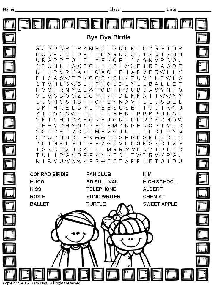 Musicals Word Search Puzzles The Bulletin Board Lady