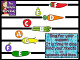 Treble Clef Lines and Spaces Bulletin Board - Cooking Theme