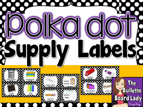 Supply Labels – Black and White Polka Dots