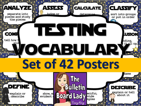 Test Prep Testing Words Bulletin Board Set of 42: Far Away Galaxy