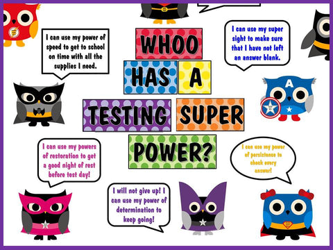 WHOO Has a Testing Super Power Bulletin Board