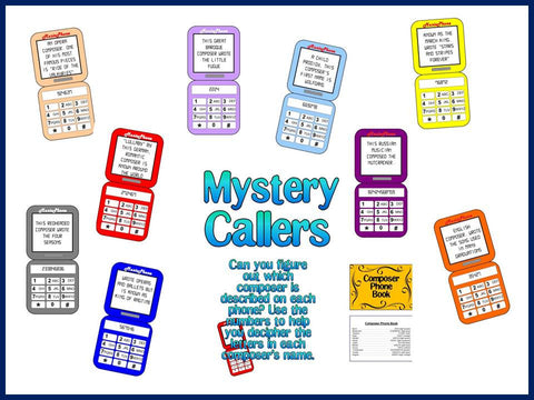 Mystery Callers Composer Bulletin Board for the Music Classroom