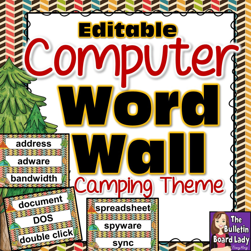 computer lab or it room word wall camping theme  u2013 the