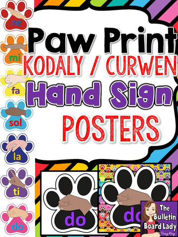 Kodaly/Curwen Hand Signs - Paw Print Theme
