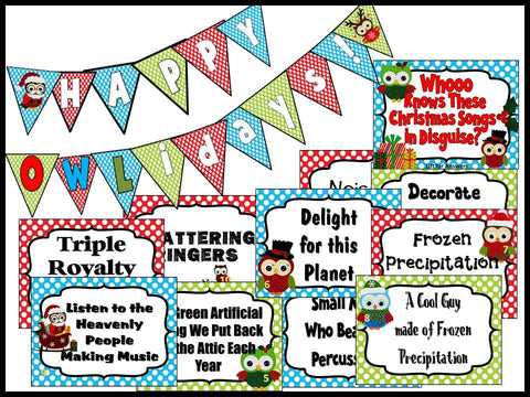 Happy OWLidays Christmas Song Bulletin Board