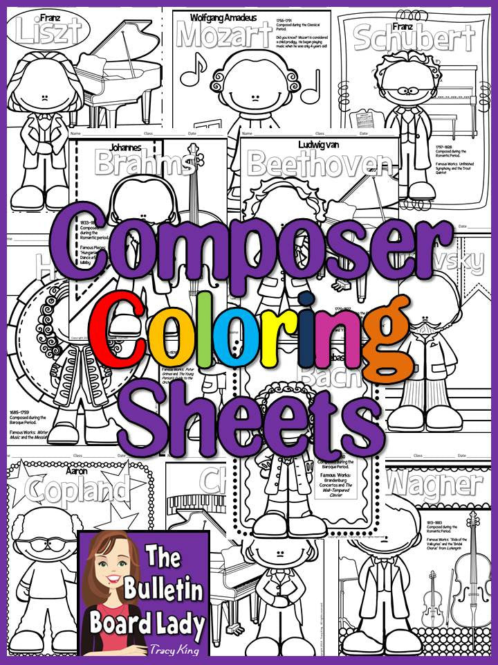 meet the composersset of 12 coloring sheets coloring