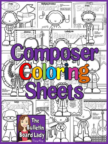 Meet the Composersset of 12 Coloring